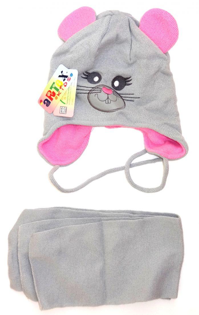 Комплект: шапка и шарф для девочки