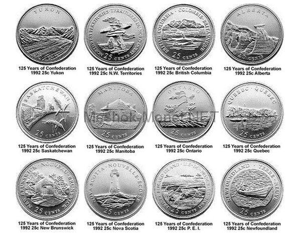 Комплект монет Канада 25 центов 1992 год 125 лет Конфедерации