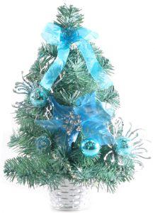 Елочка настольная, с синими украшениями, 30см