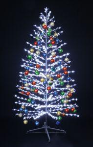 """LED-""""Ель""""белая, 180см, с разноцвцветными шариками"""