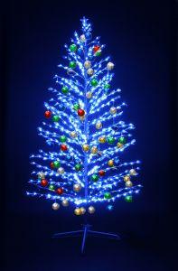 """LED-""""Ель""""синяя, 210см, с разноцвцветными шариками"""