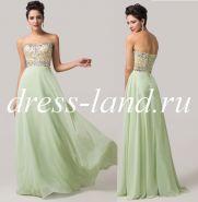 Светло-зеленое вечернее платье на шнуровке