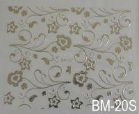 """Наклейка для дизайна ногтей на клеевой основе """"Серебро"""" BM - 20S"""