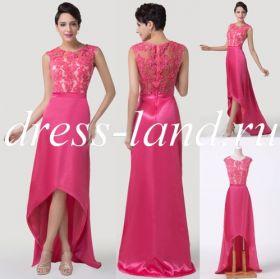 Ярко-розовое вечернее платье на молнии