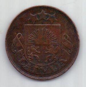 5 сантимов 1922 г. редкий тип. Латвия
