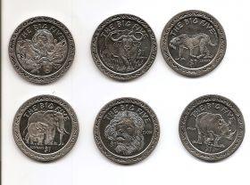 Большая пятерка Африки.Набор монет 1 доллар Сьерра-Леоне 2001 ( 6 монет)