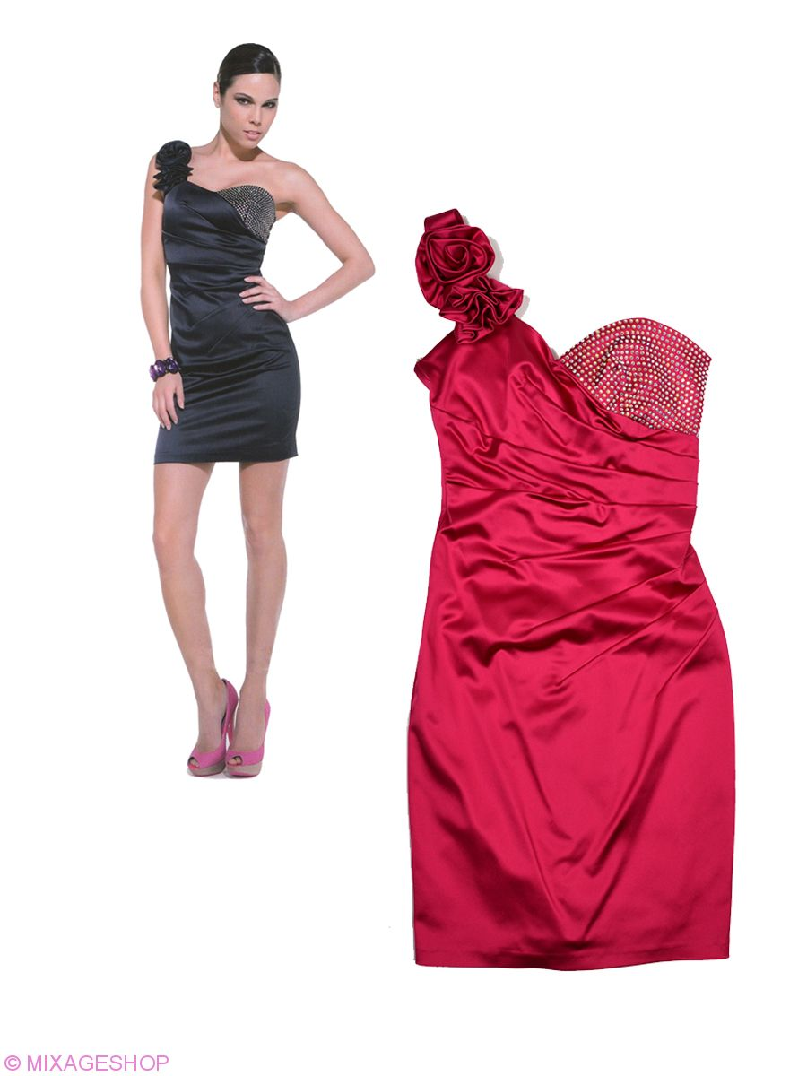 Платье облегающего силуэта с бретелью на одно плечо