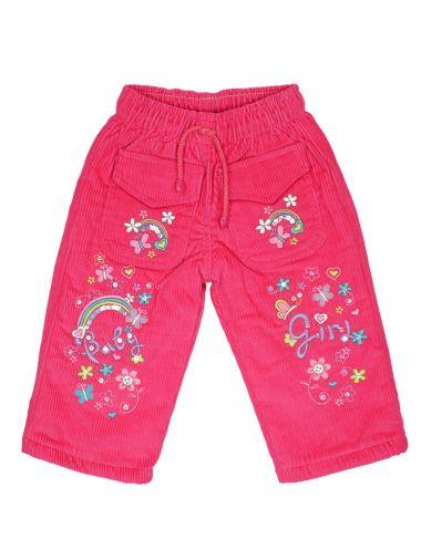 Вельветовые брюки с карманами на флисе