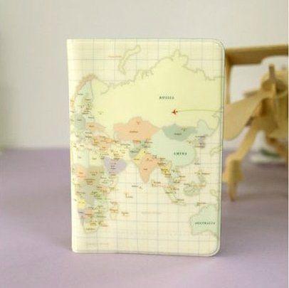"""Обложка для паспорта """"World Map"""" - Cream"""