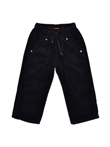Вельветовые брюки черного цвета с карманами