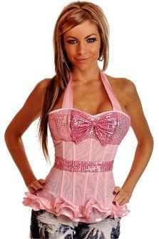 Розовый прозрачный корсет без шнуровки