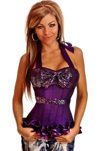 Темно фиолетовый корсет с широкими лямками