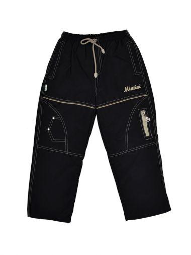 Черные брюки с подкладкой на флисе из плащевой ткани
