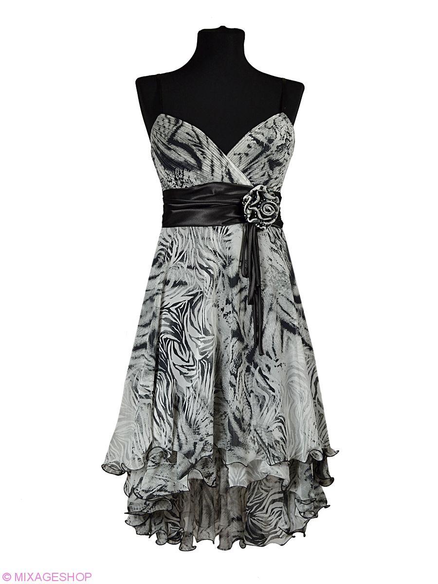 Каскадное шифоновое платье тигровой расцветки