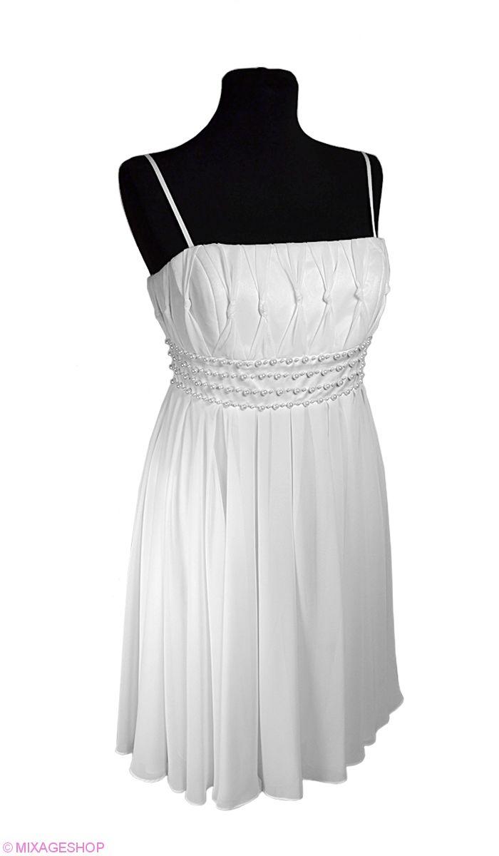 Шифоновое платье с атласным поясом, расшитым жемчугом