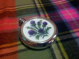 Фляга из олова  с рисунком - Цветок Чертополоха -Символ Шотландии 180 мл