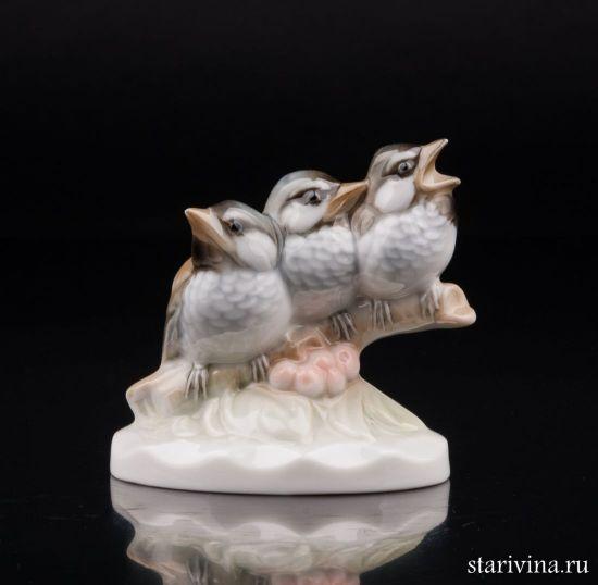 Три птенца, миниатюра, Hutschenreuther, Германия.