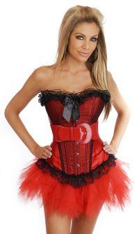 Красный корсет с чёрными оборками