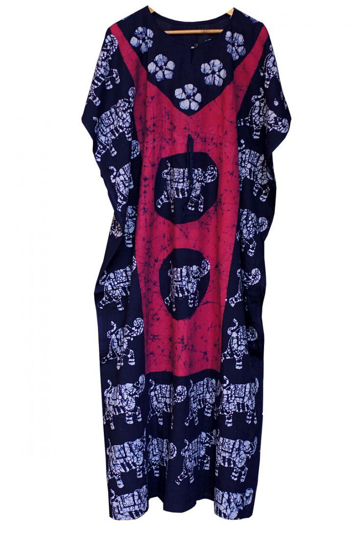Безразмерное индийское платье на кулиске, розовое (отправка из Индии)