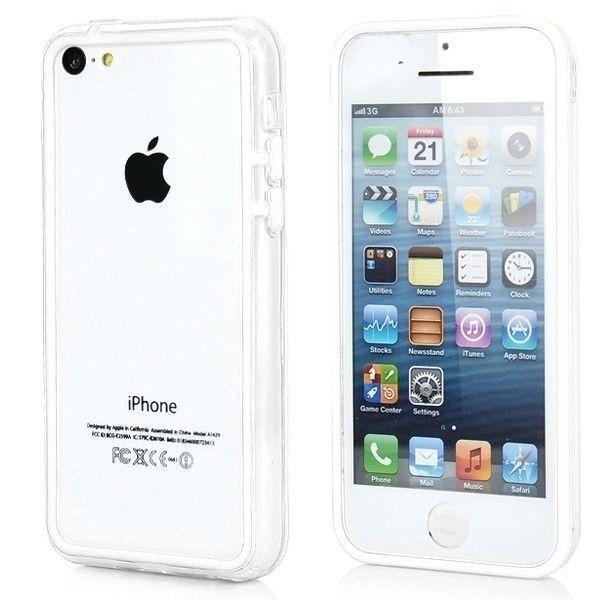 Бампер для iphone 5c (белый с прозрачным)