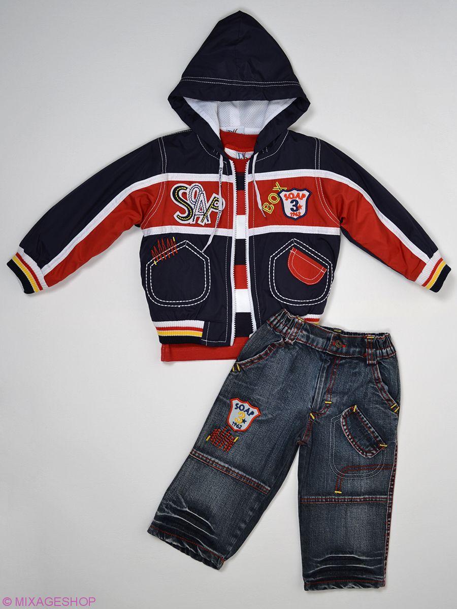 Костюм: полосатый лонгслив, джинсовые брюки и ветровка