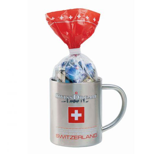 Набор шоколада Swiss Dream Швейцарская металлическая кружка - 150 г (Швейцария)