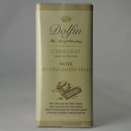 Шоколад Dolfin Тёмный со свежим имбирём - 70 г (Бельгия)