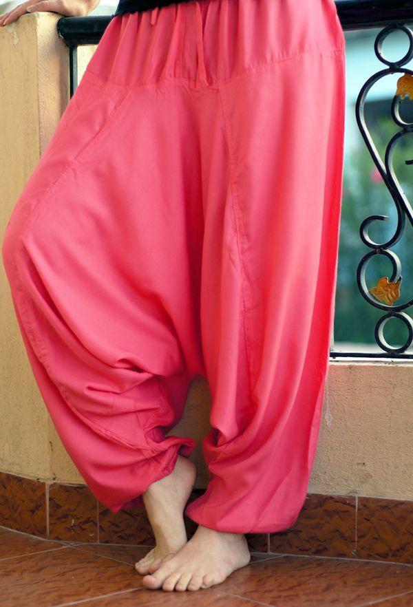 Розовые штаны алладины с узким поясом; вискоза (отправка из Индии)