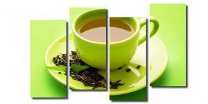 Модульная картина Зеленая чашка чая