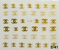 """Наклейка для дизайна ногтей на клеевой основе """"Золото"""", E-41"""