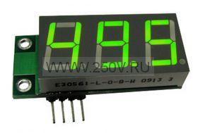 Миниатюрный цифровой встраиваемый амперметр  SAH0012UB-50 (до 50А) зеленый