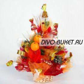 """Новогодний букет с конфетами №373 """"Зимняя радость"""""""