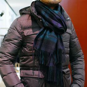 Роскошный большой плотный шарф, высокая плотность, 100 % драгоценный кашемир ,  Тартан Чёрная Стража Блэкуотч (премиум)