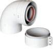 Коаксиальный отвод 90°, с муфтой,  диам. 60/100 мм   6010-000090 STOUT