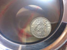 Кельтский Танкард из Шеффилда (пивная кружка) с коллекционной британской монетой  (шиллингом), британский пьютер