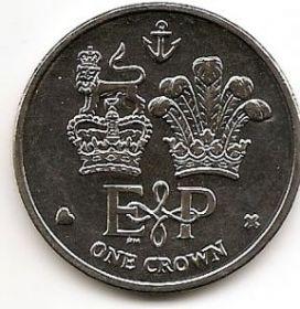 Елизавета II и Филипп. Символы власти.1 крона Фолклендские острова 2011
