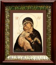 Владимирская икона Божьей Матери (19х22), темный киот