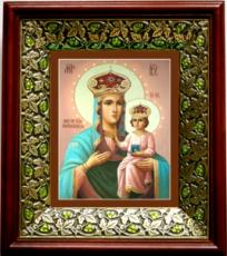 Озерянская икона БМ (21х24), киот со стразами