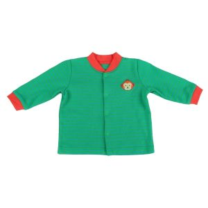 Кофточка для мальчика зеленая с мартышкой на груди Коган кидс 012-001