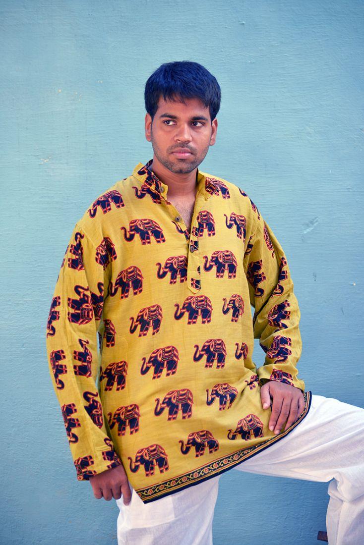 Мужские ЧЁРНАЯ индийская рубашка со слонами (СПб)