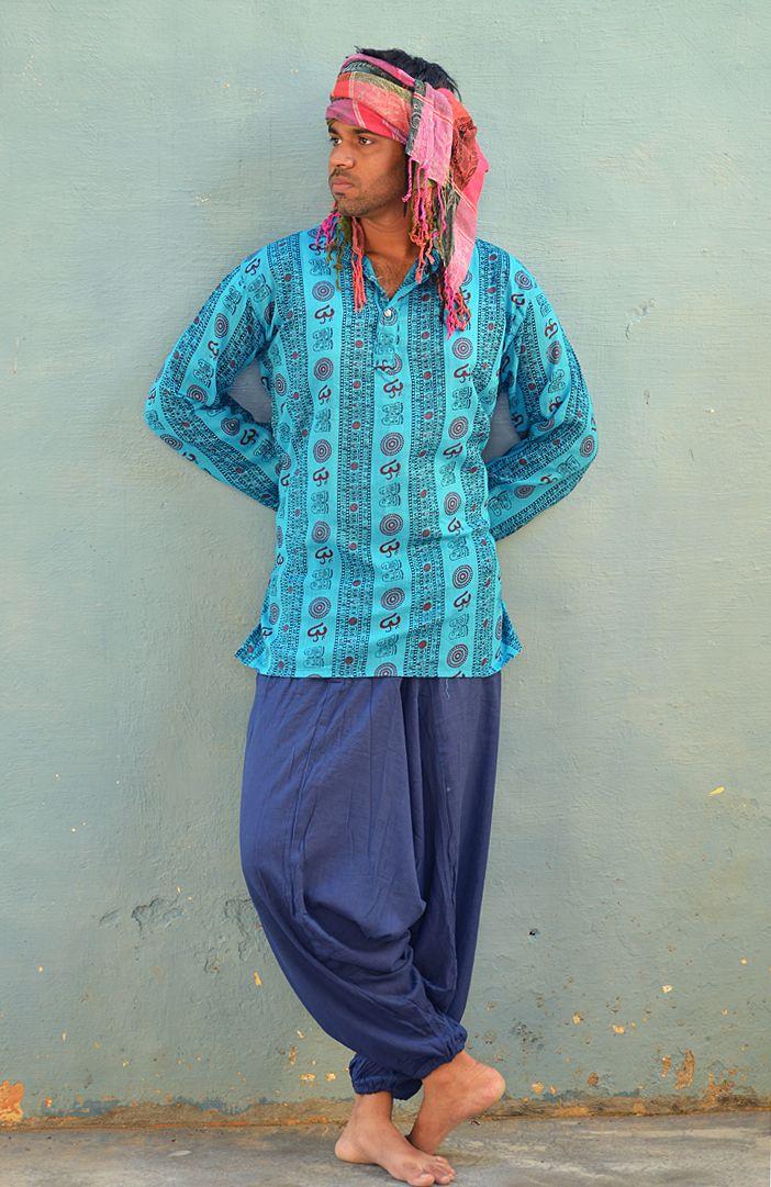 Разноцветные мужские индийские рубашки с омчиками (отправка из Индии)