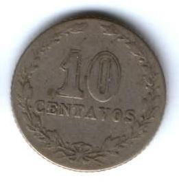 10 сентаво 1896 г. редкий год Аргентина
