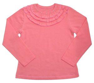 Майка для девочки розовая с рюшами вокруг горловины АВ Стайл 4002
