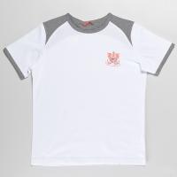 Белая футболка с серыми вставками для мальчика