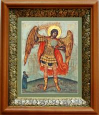Михаил архангел, попирающий дьявола (19х22), светлый киот