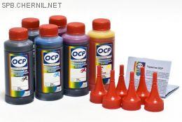 Чернила OCP для принтера и МФУ Canon MG6140, MP980 (BKP44, BK123, BK124, C154, M144, Y144), картриджи PGI-425, PGI-520, CLI-426, CLI-521, комплект 100 гр. x 6
