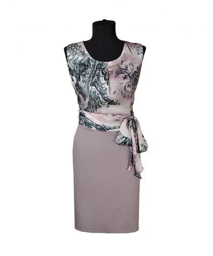 Платье из сочетания однотонного габардина и цветного шифона
