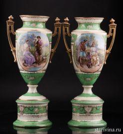 Две вазы, Royal Wien, Австрия, кон. 19 в., артикул 01501