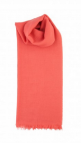невесомый тонкорунный  палантин (большой шарф) 100% шерсть мериноса, Коралловый Coral. плотность 1