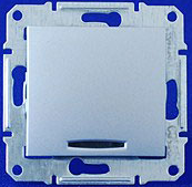 Переключатель одноклавишный с подсветкой Sedna (алюминий)